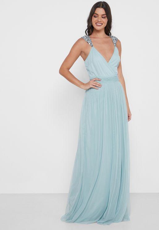 Casey Pleated V-Neck Dress