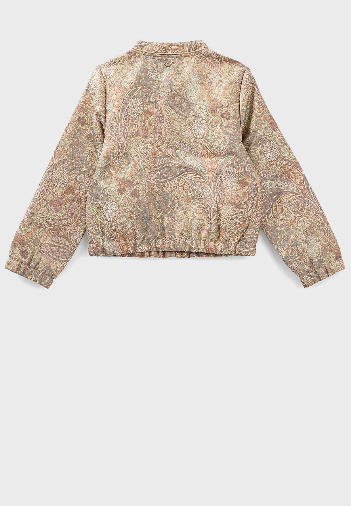 Kids Floral Print Bomber Jacket