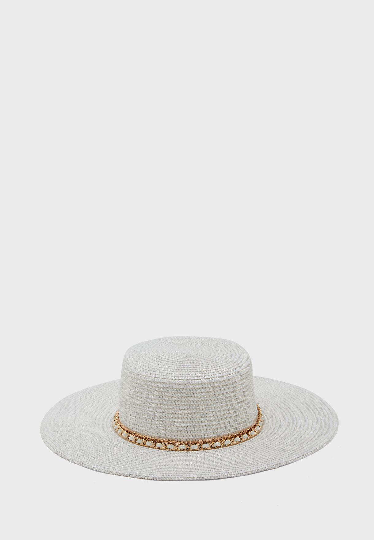 Chain Detail Wide Brim Straw Hat