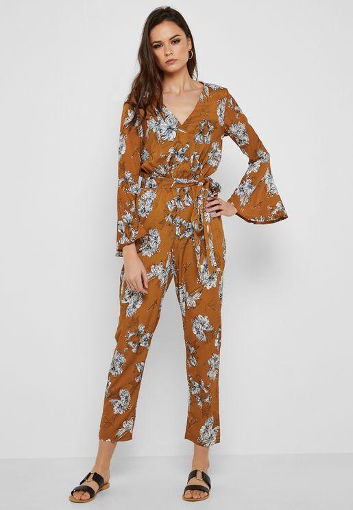 3831ea1d41d8 Floral Print Flare Sleeve Wrap Front Jumpsuit