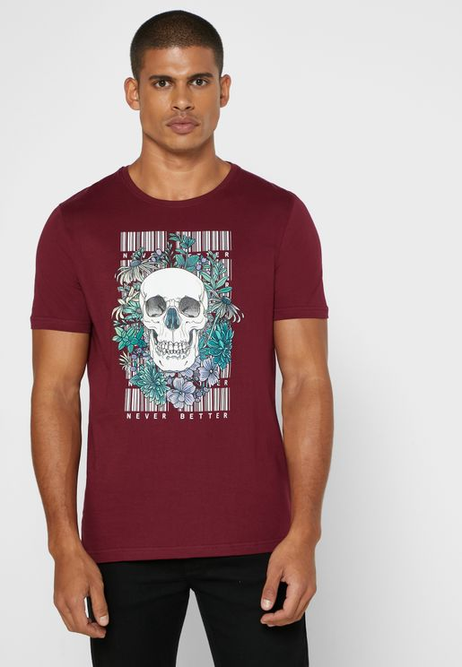 Skull Floral Print T Shirt