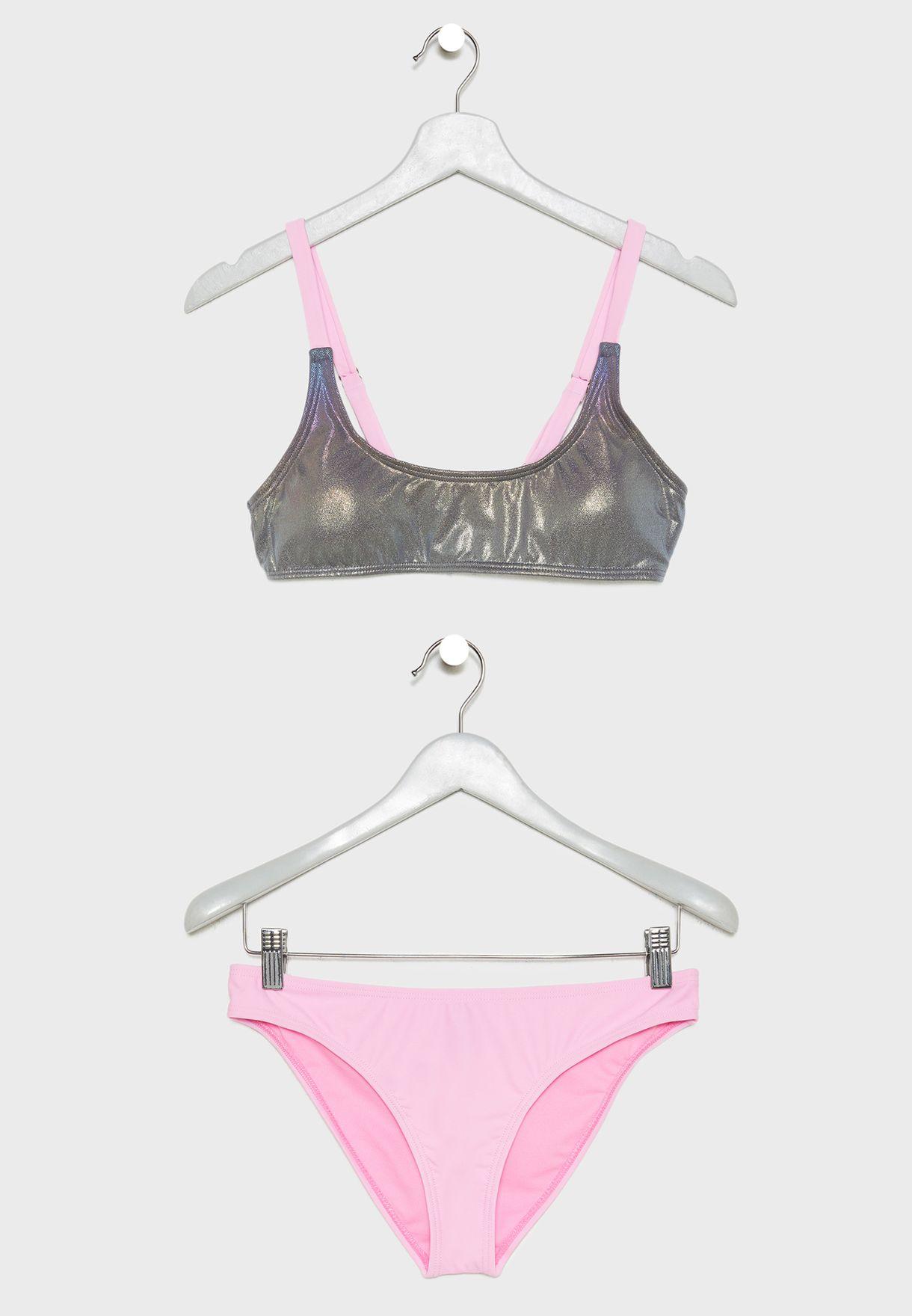 Metallic Top Bikini Set