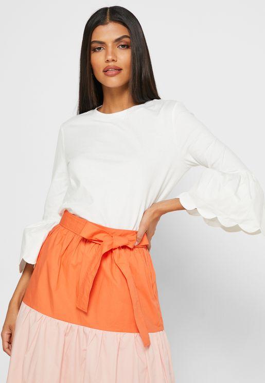 Scallop Bell Sleeve T-Shirt