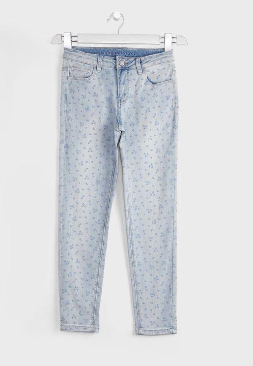 بنطال جينز بطبعات ازهار