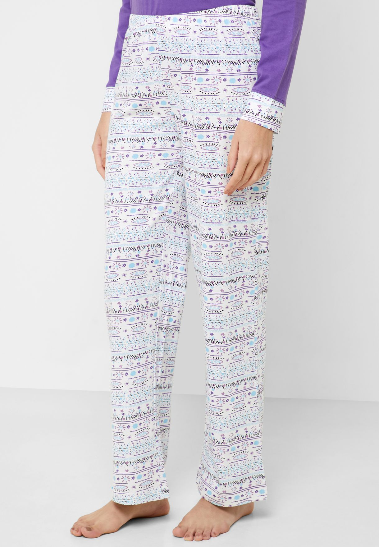 Crew Neck Printed Top Checked Pyjama Set