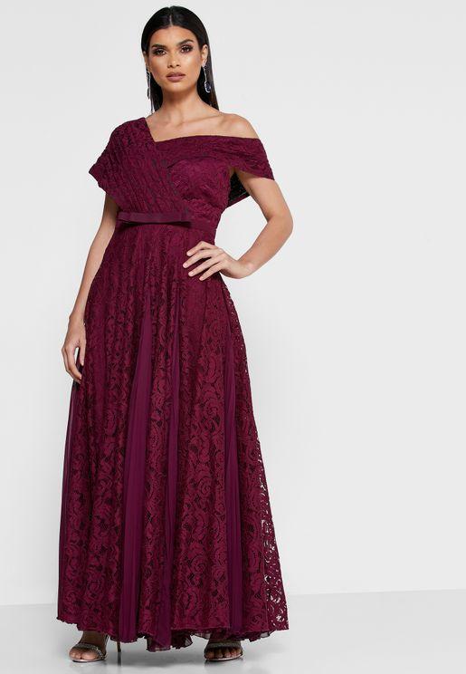 Asymmetric Neck Lace Dress