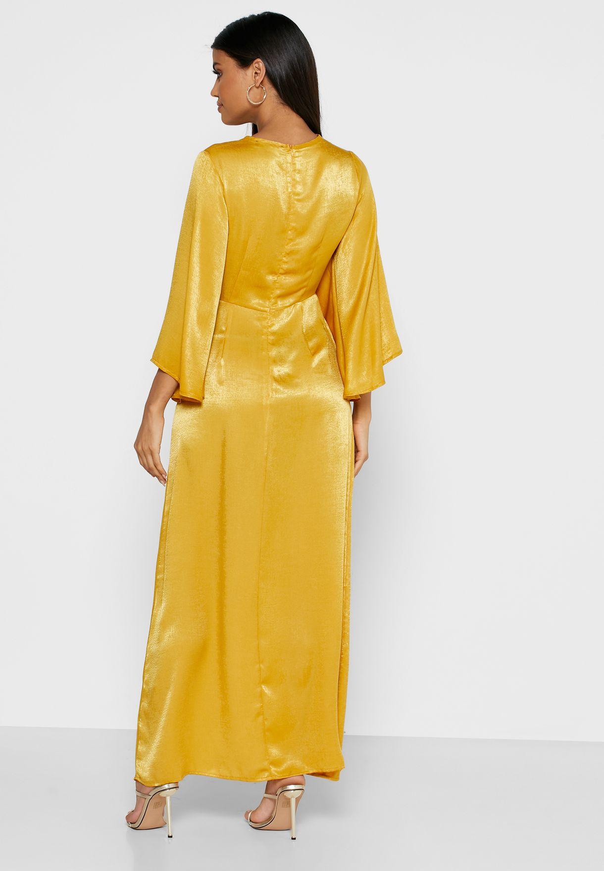 فستان ماكسي ساتان بأكمام واسعة
