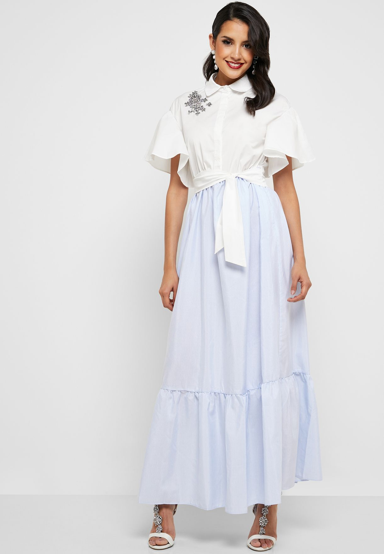 Embellidhed Belted Maxi Dress