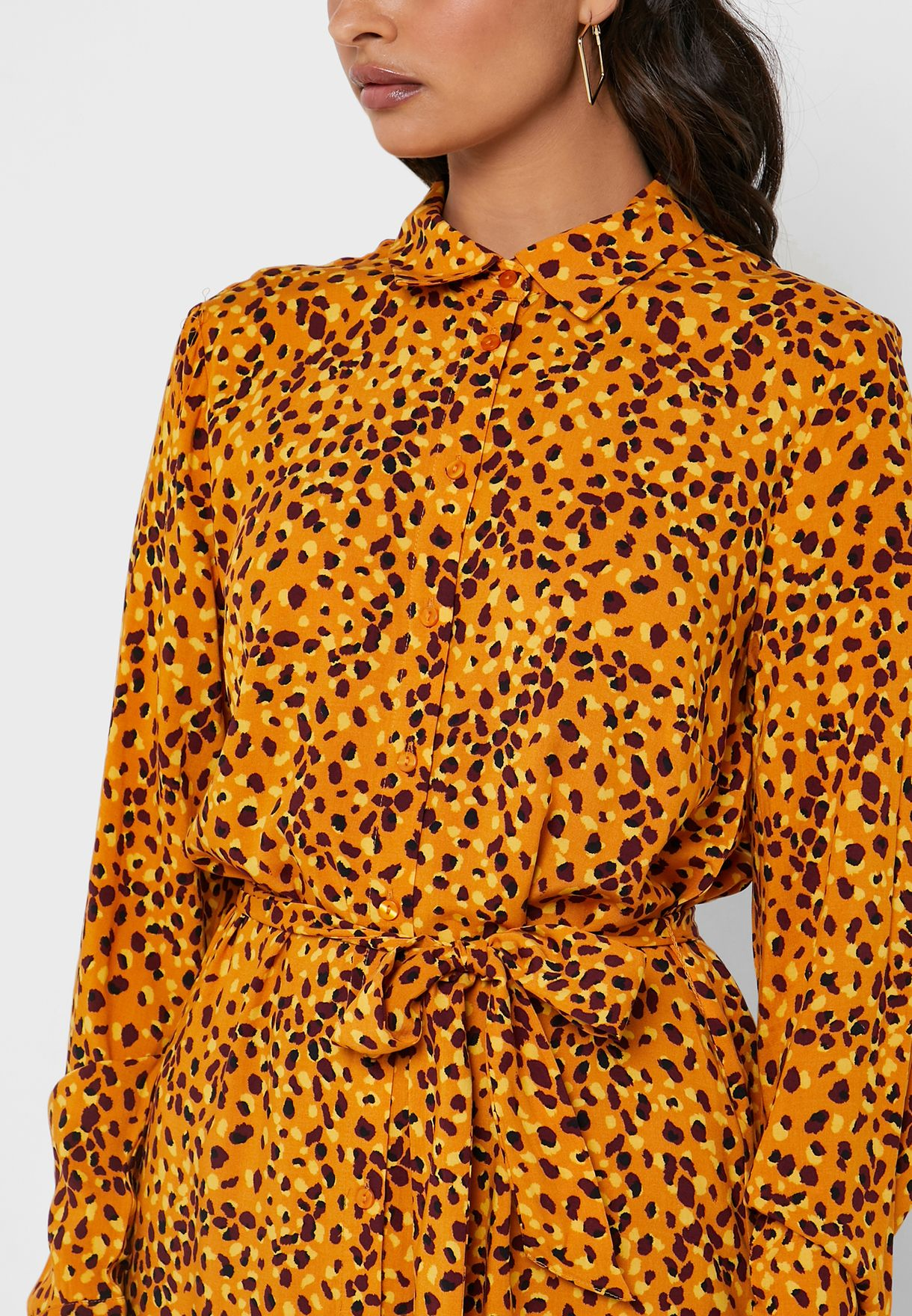 Tie Waist Printed Shirt Dress