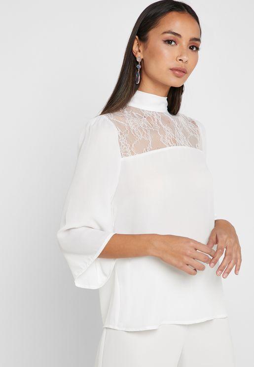 High Neck Long Sleeve Lace Detail Shirt
