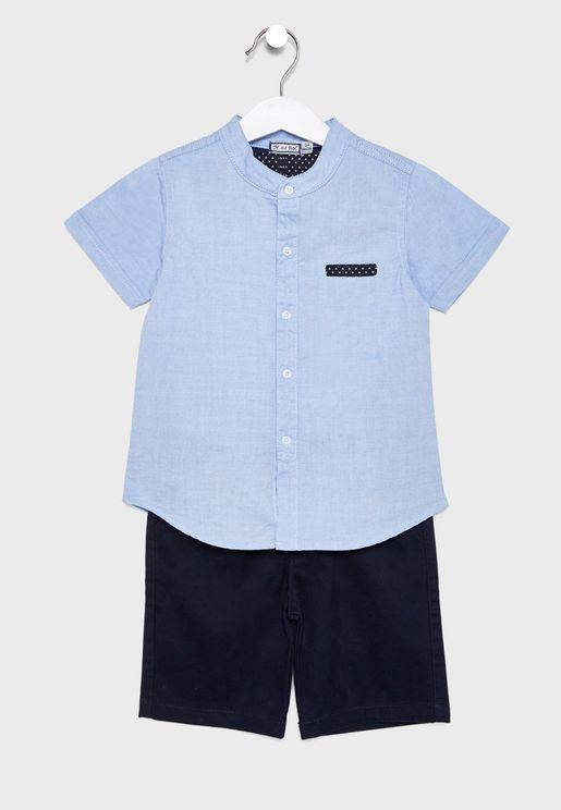 Little China Collar Shirt + Shorts Set
