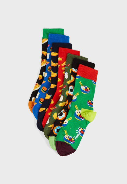 7 Pack Days Of Food Crew Socks