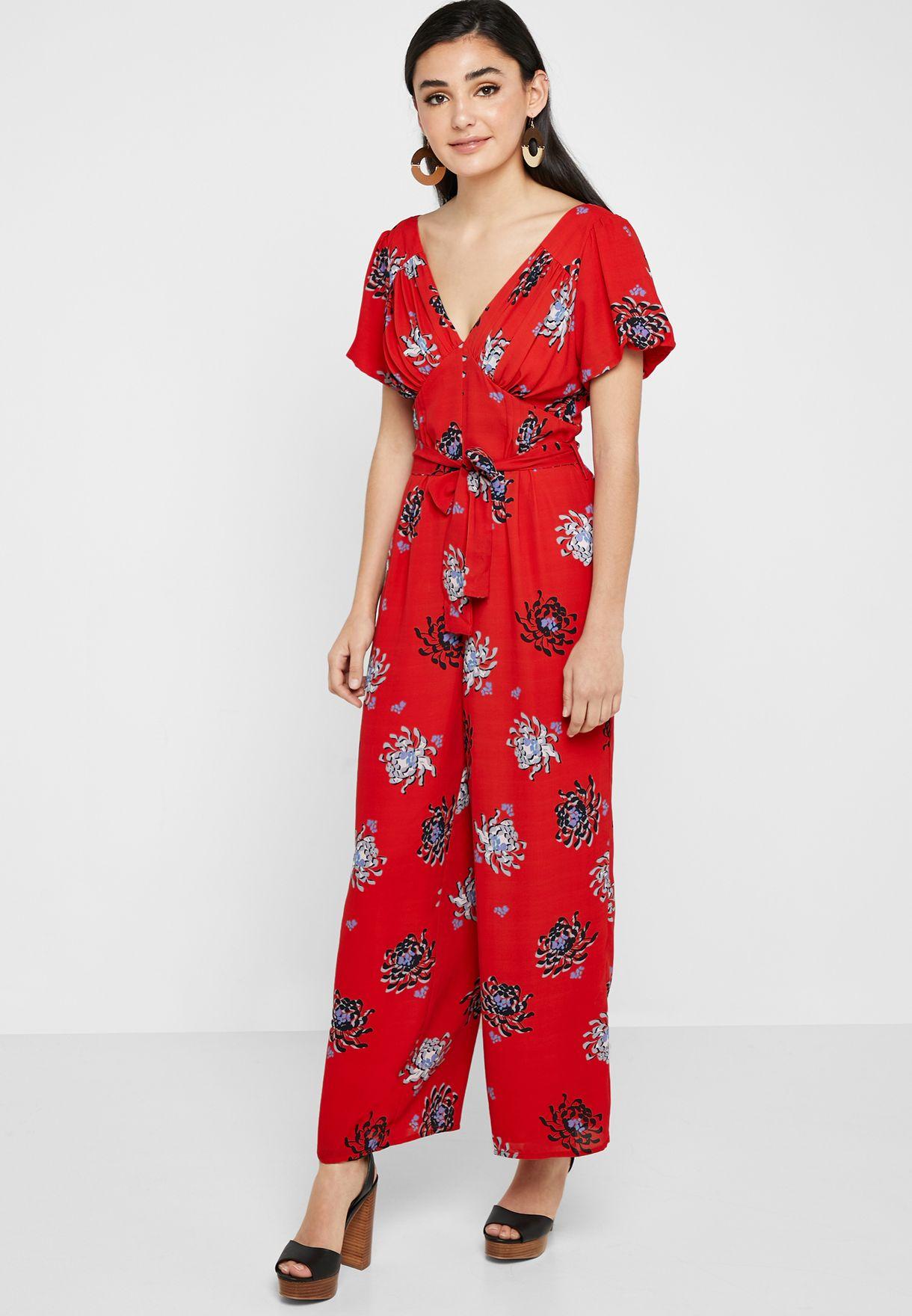 Floral Print Tie Waist Jumpsuit