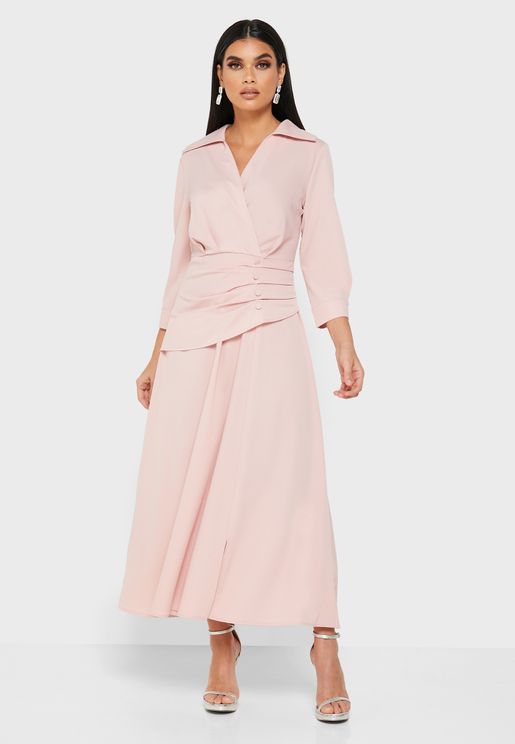 Wrap Front Button Detail Midi Dress