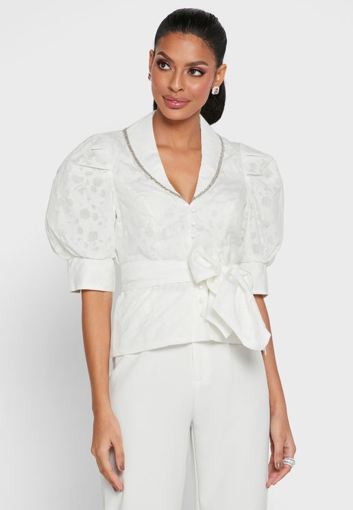 Puff Sleeves Bow Detail Top