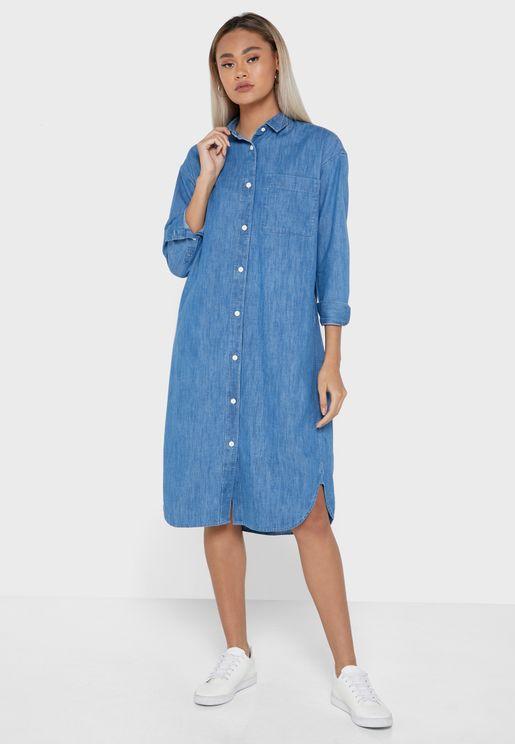 Button Down Pocket Detail Dress