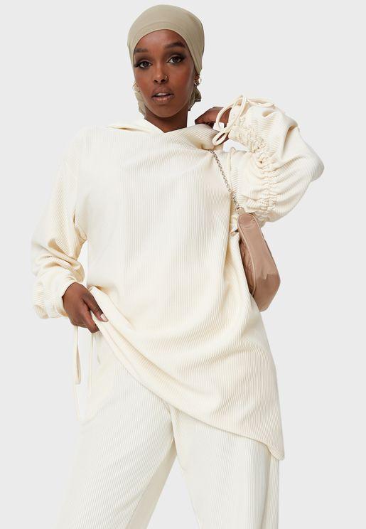 Rib Ruched Sleeve Longline Hoodie