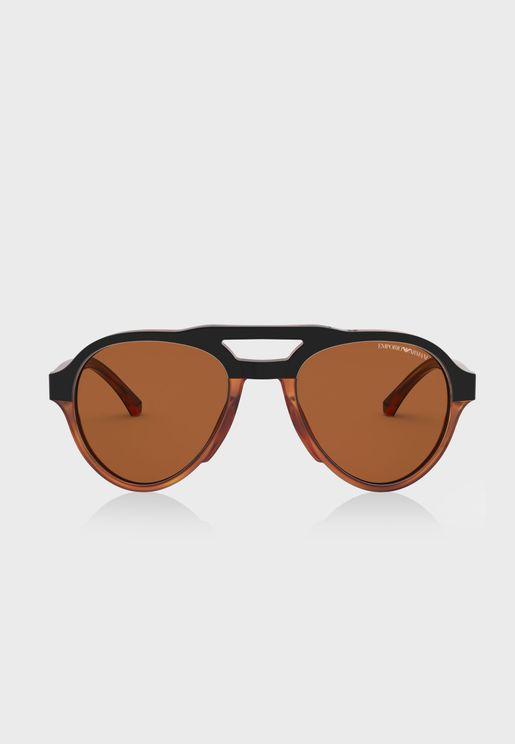 0EA4128 Top Bar Oversized Sunglasses