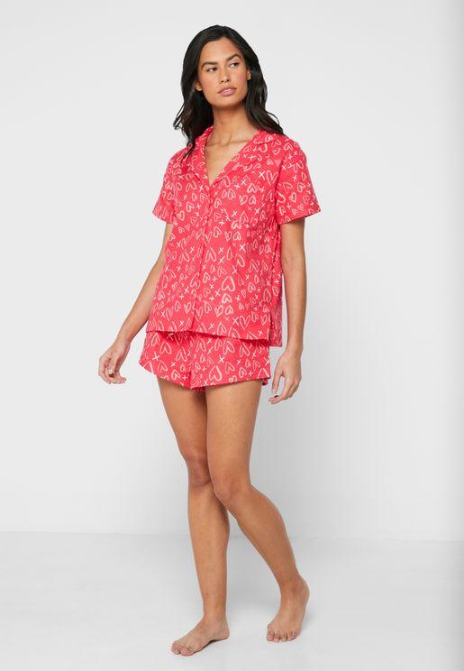 Heart Print Shortie In A Bag Pyjama Set