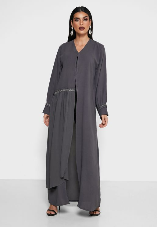 Pleated Sleeves Button Detail Abaya
