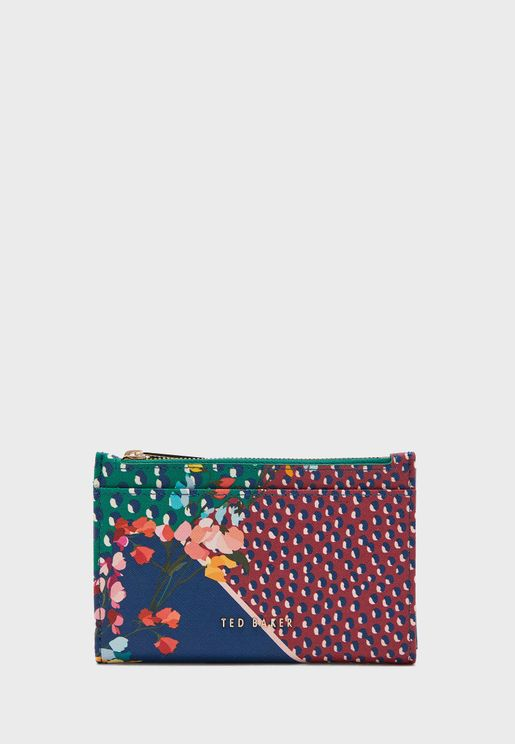 Hassiee Peppermint Saffiano Zipped Cardholder