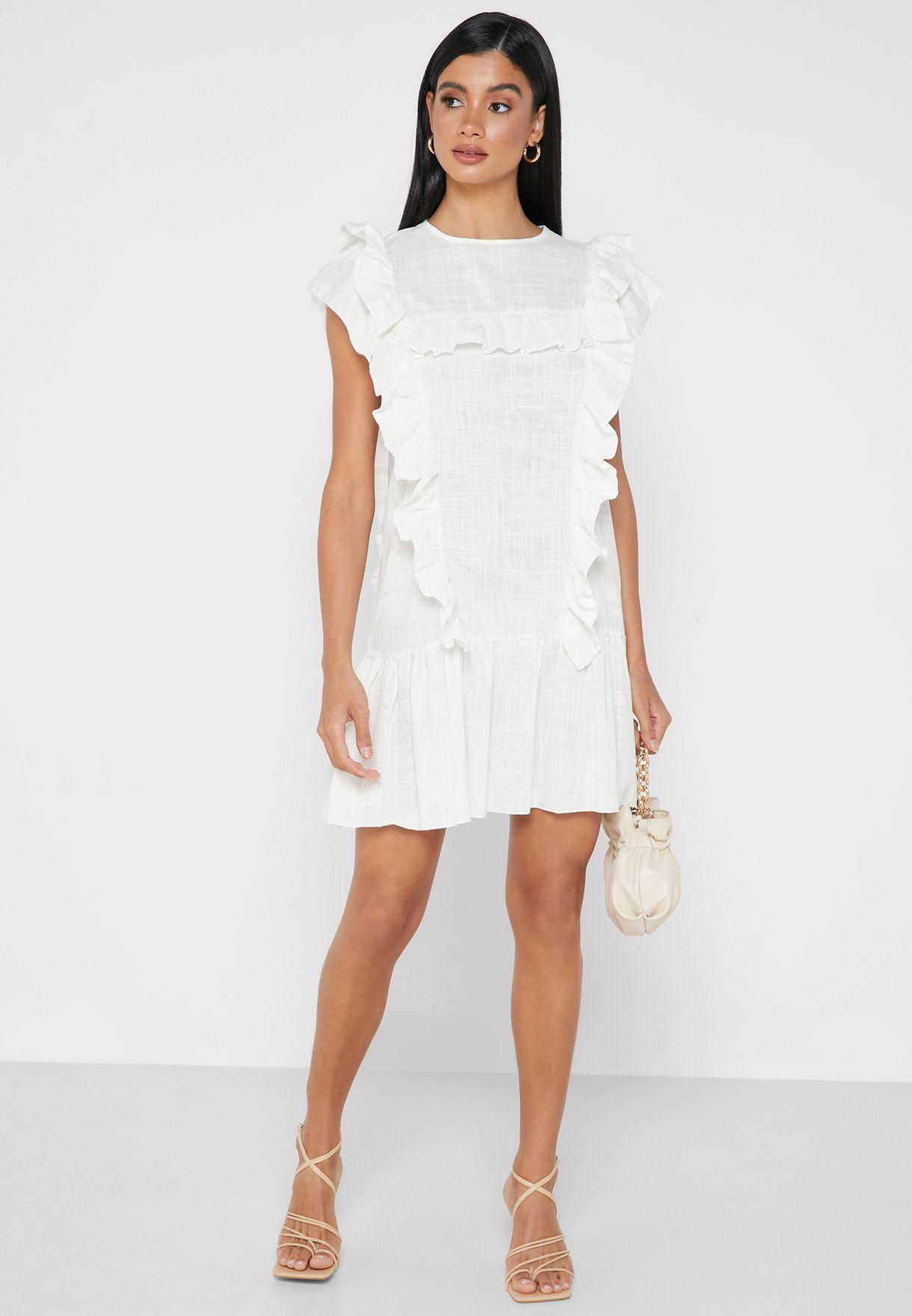 فستان قصير بكشكش
