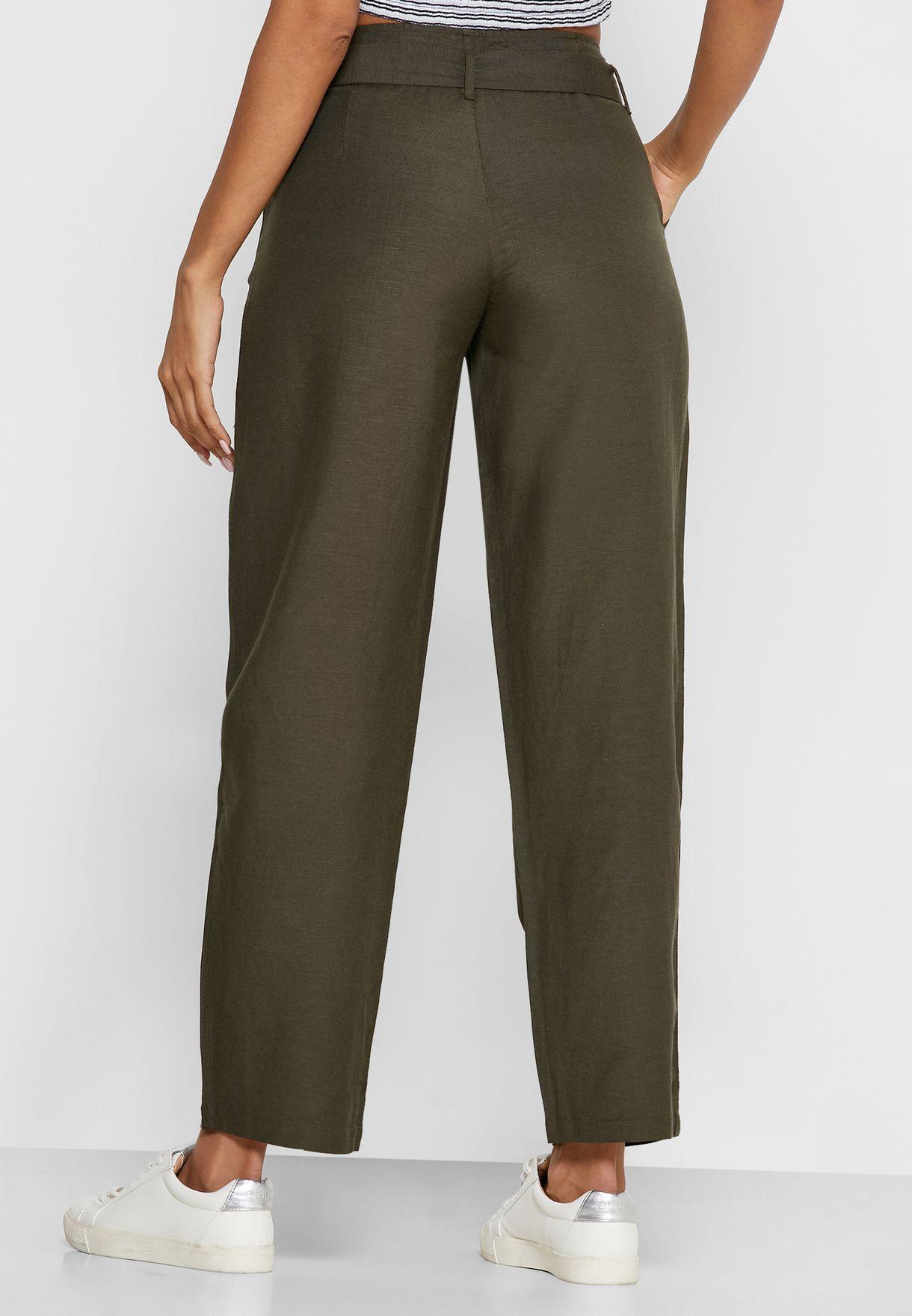 High Waist Belted Pants