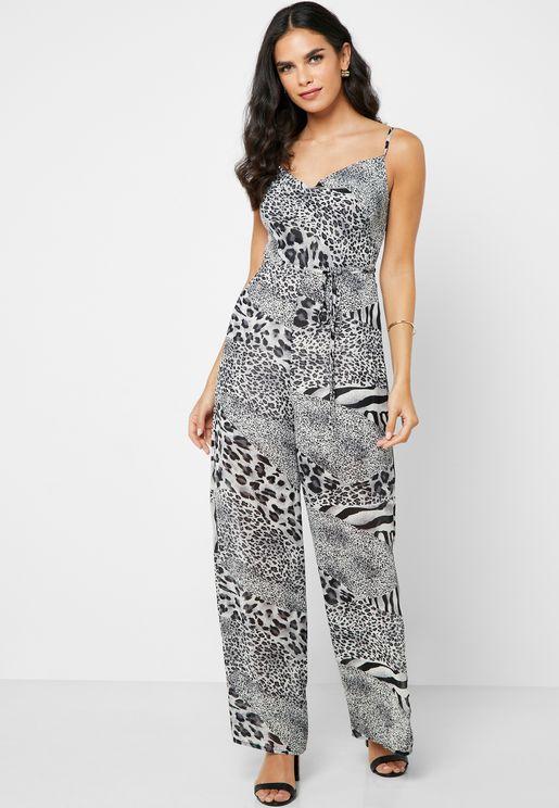 Leopard Print Self Tie Jumpsuit