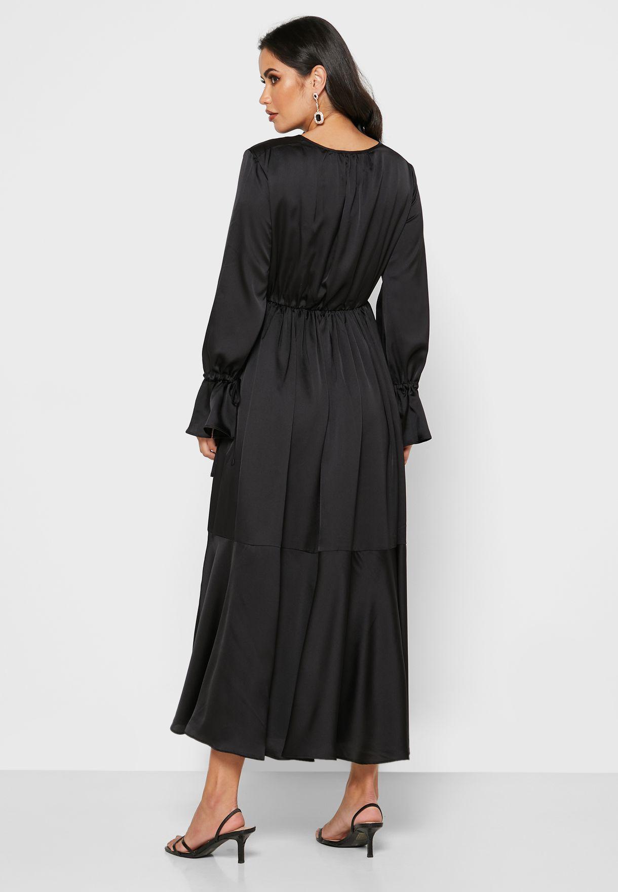 Tie Neck Ruffle Trim Midi Dress
