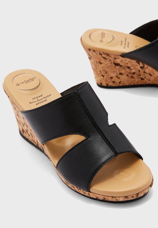 Wide Strap High Heel Wedge Sandal