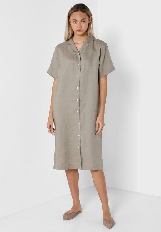 Button Down Wide Sleeve Dress