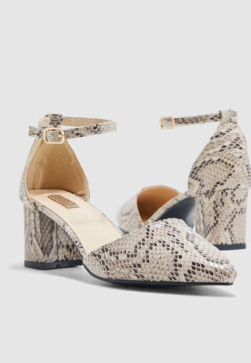 Block Heel Court Shoe With Ankle Strap In Snake Pr