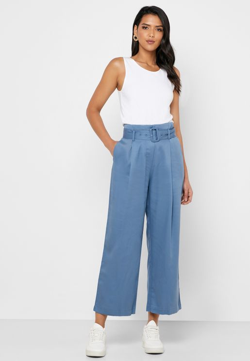 Tencel Belted Wide Leg Pants