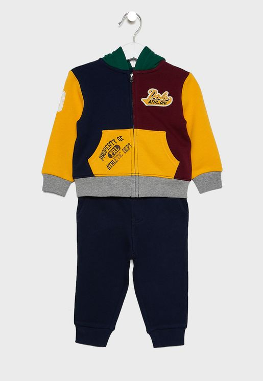 Infant Color Block Hoodie + Sweatpants Set