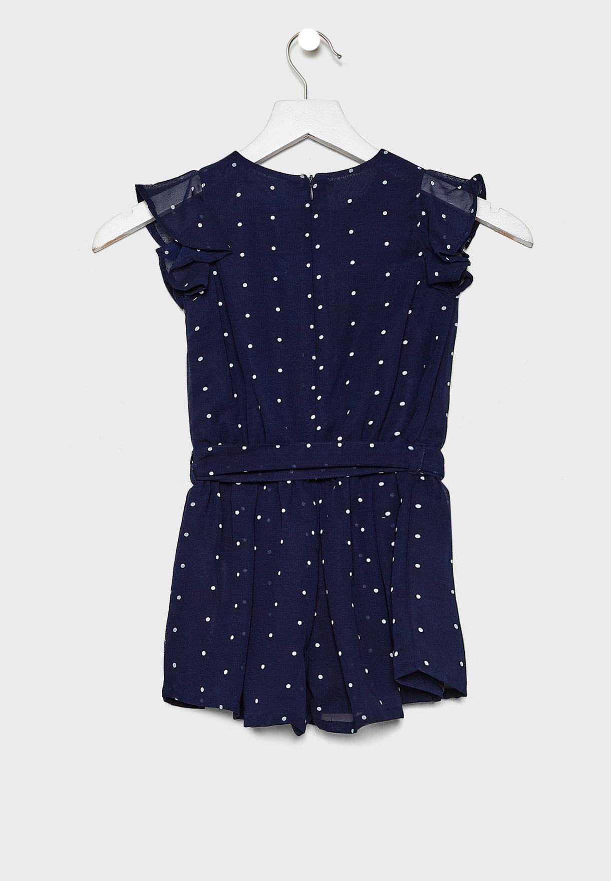 Little Tie Waist Dotted Dress