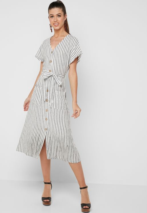 Button Through Striped Dress