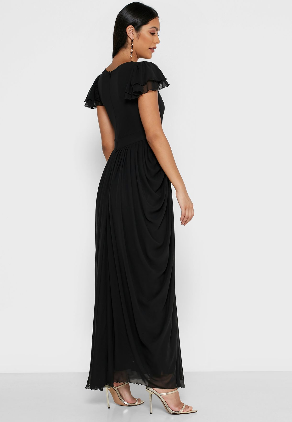 Cape Sleeve Draped Maxi Dress