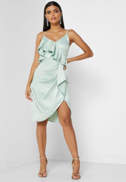 One-Shoulder Ruffle Detail Dress