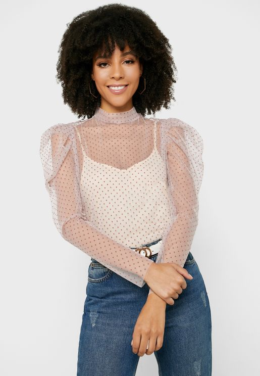 Dot Print Sheer Top