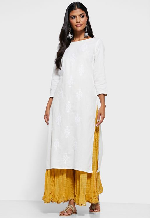 Crew Neck Embroidered Kurti