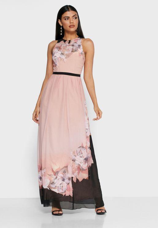 Colorblock Printed Dress