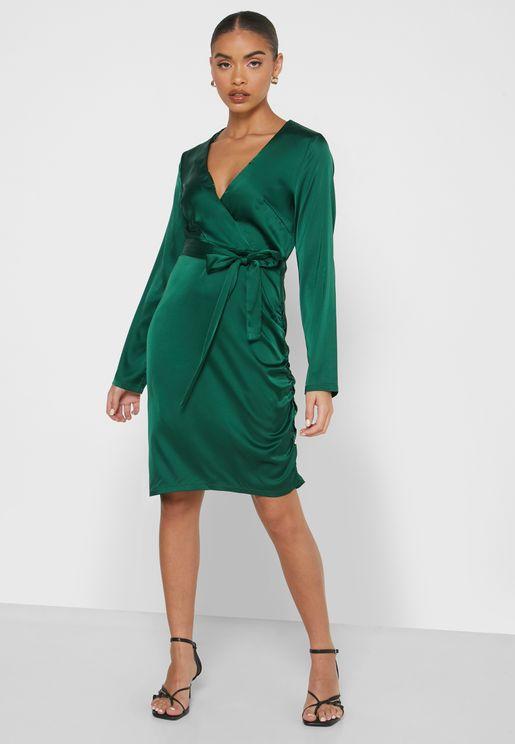 Wrap Front Satin Mini Dress