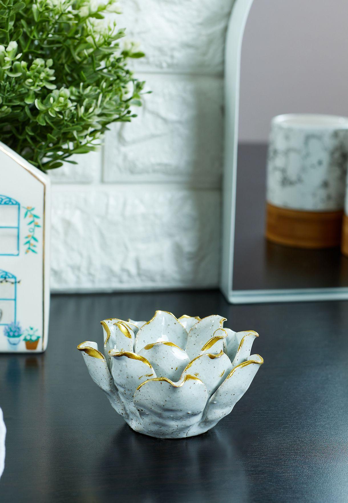 White Porcelain Flower Candle Holder