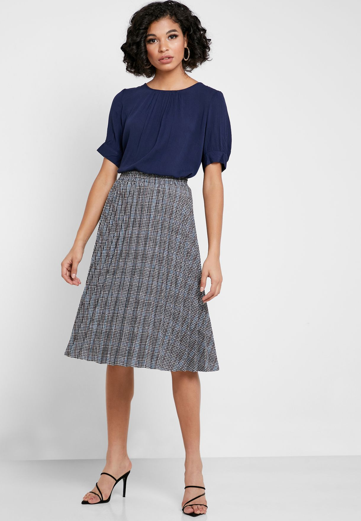 Checked Pleated Skirt