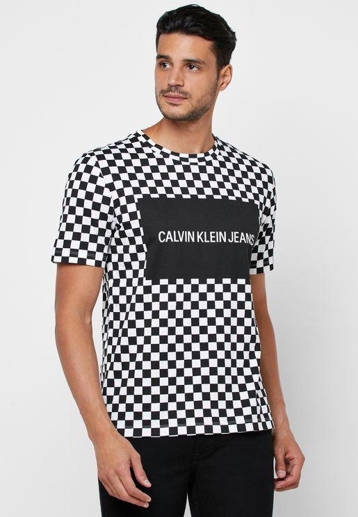 Box Logo Checked Crew Neck T-Shirt