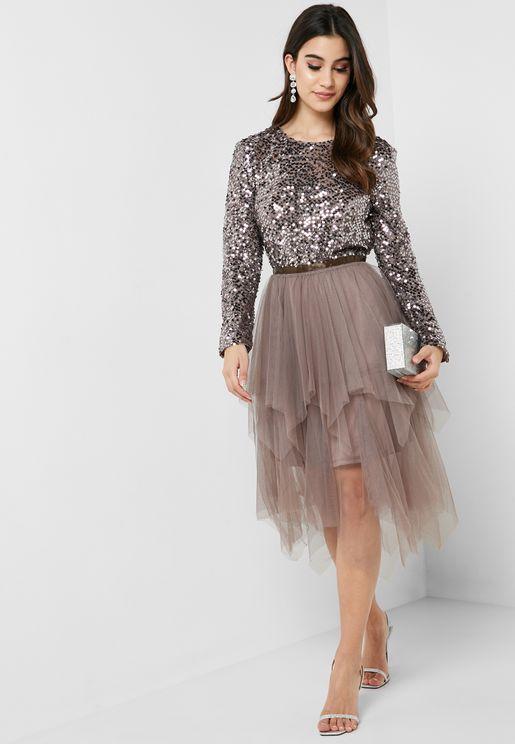 f0187c7e364 Shimmer Asymmetrical Tulle Dress