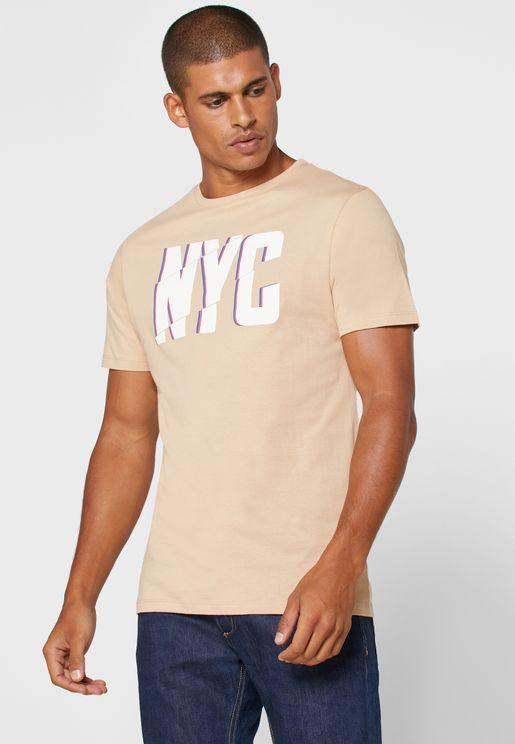 Slogan Crew Neck T Shirt