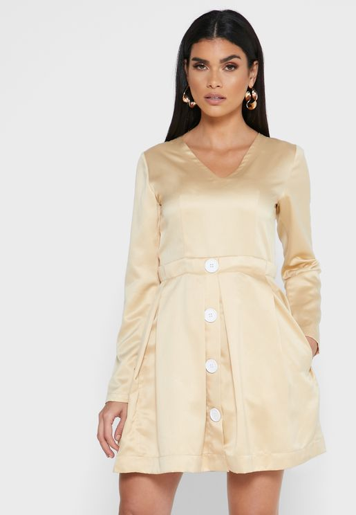 Pleated Button Down Dress