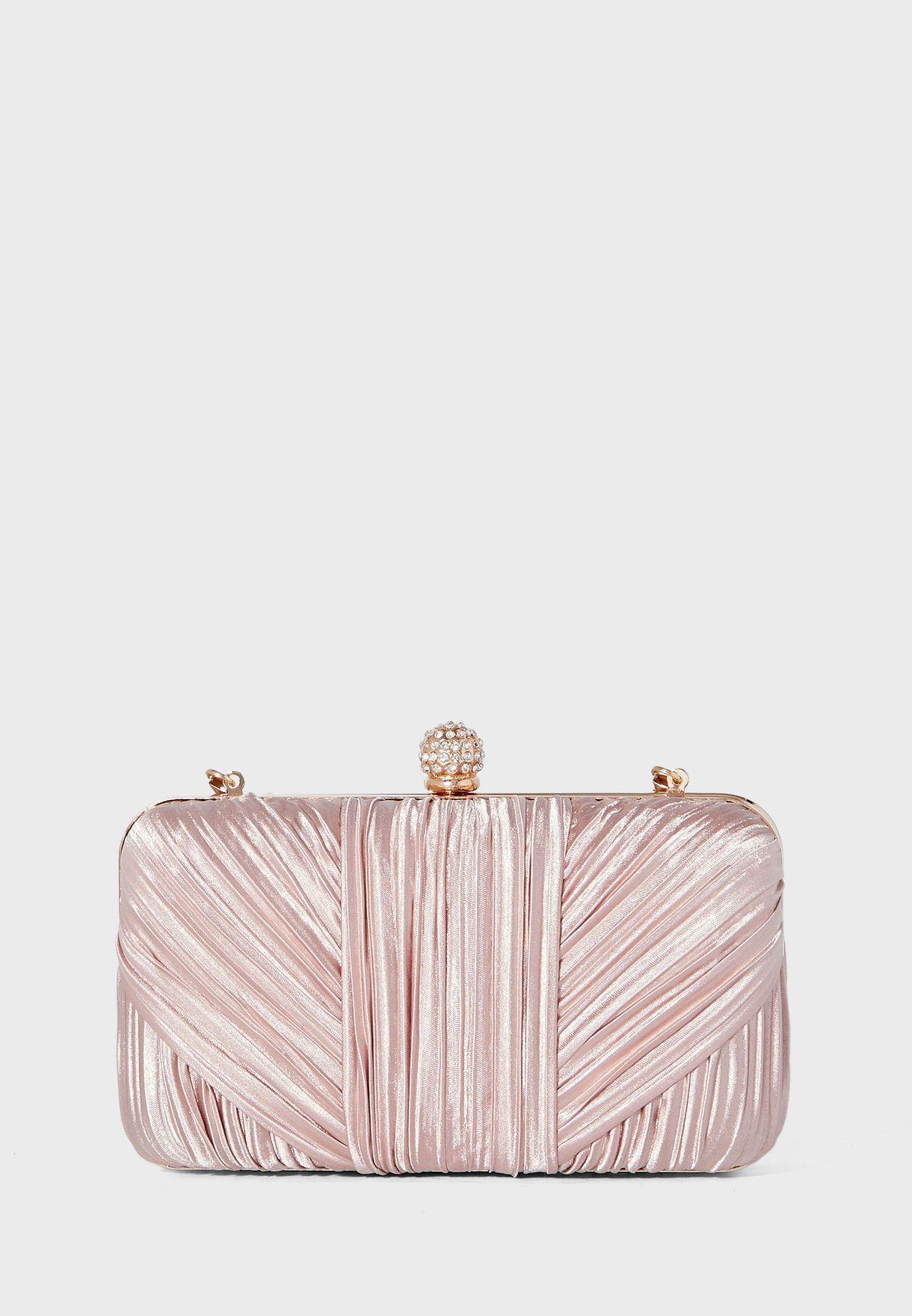 Twisted Satin Box Clutch Bag