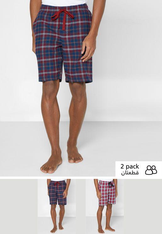 2 Pack Checked Pyjama Shorts
